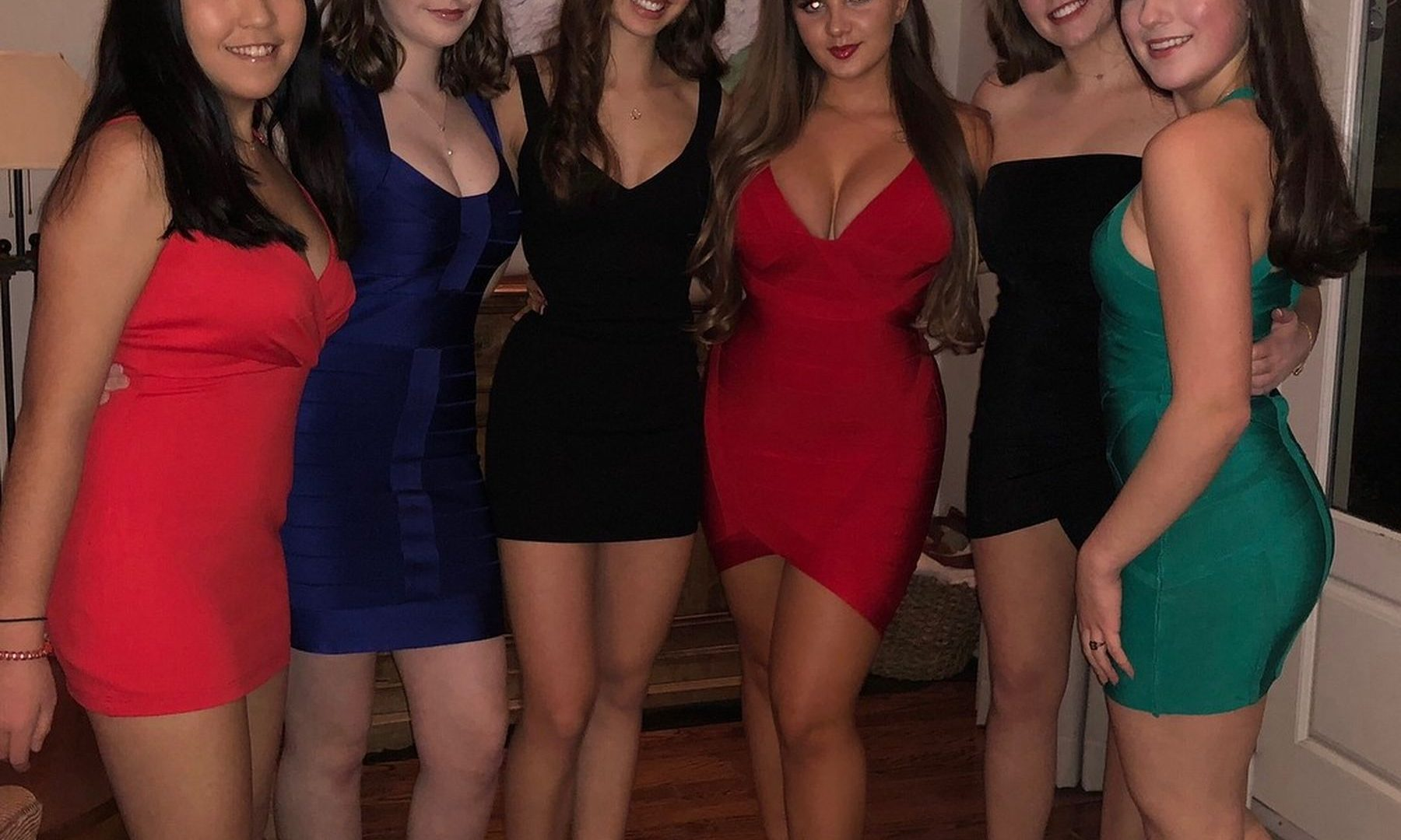 Sexy chicks in fitted dresses look great. Hot girls with perfect charms absolutely free